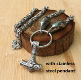 Stainless Steel Wolf Head Necklace Chain With Mjolnir Stainless Steel Wolf Head Necklace Chain With Mjolnir