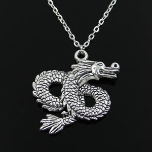 Dragon Pendant Silver Necklace Dragon Pendant Silver Necklace