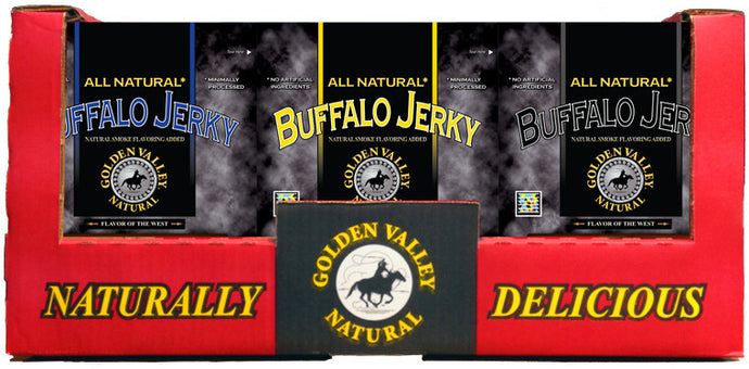 All Natural Buffalo Jerky 3.0 oz - 3 Flavor Shipper