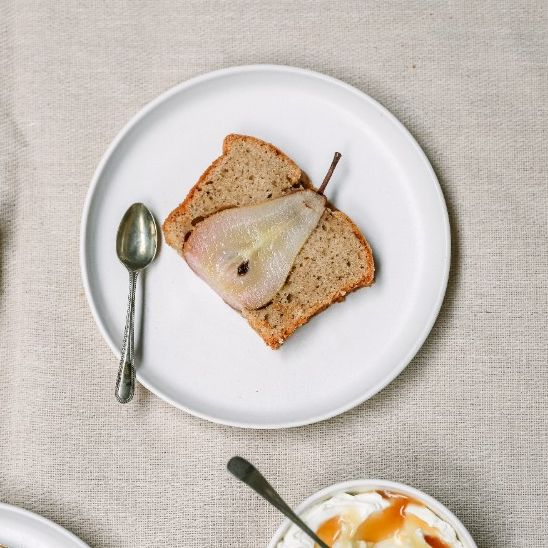 At the table:  Pear, vanilla and cassia spiced loaf cake {gluten free}