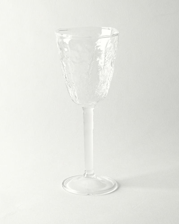 Hand blown textured wine glass