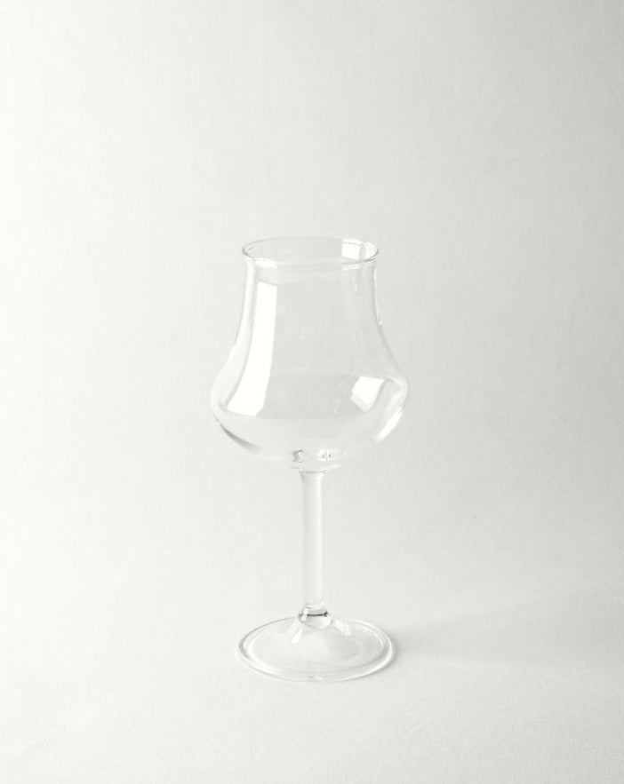 Hand blown bulb shape wine glass