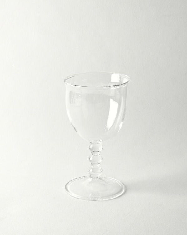 Hand blown circle stem wine glass