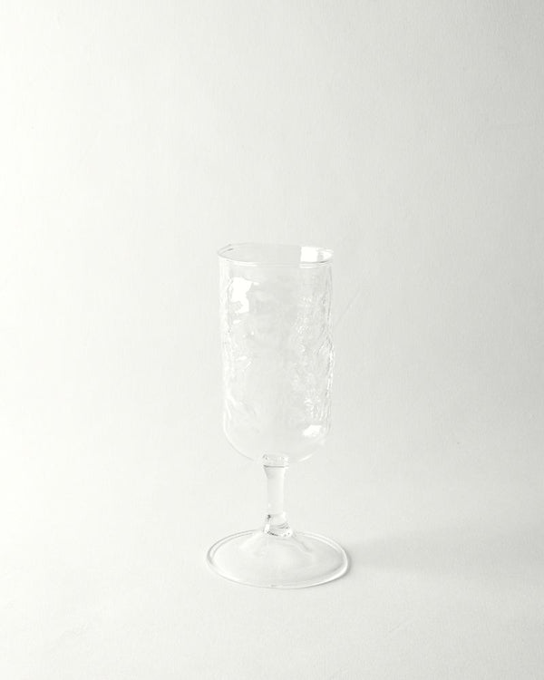 Hand blown textured small wine glass