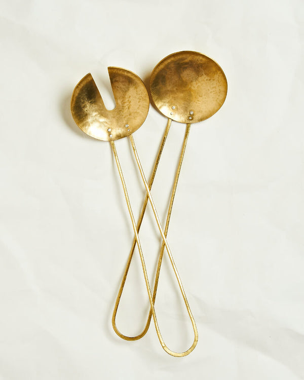 Hand forged brass salad servers