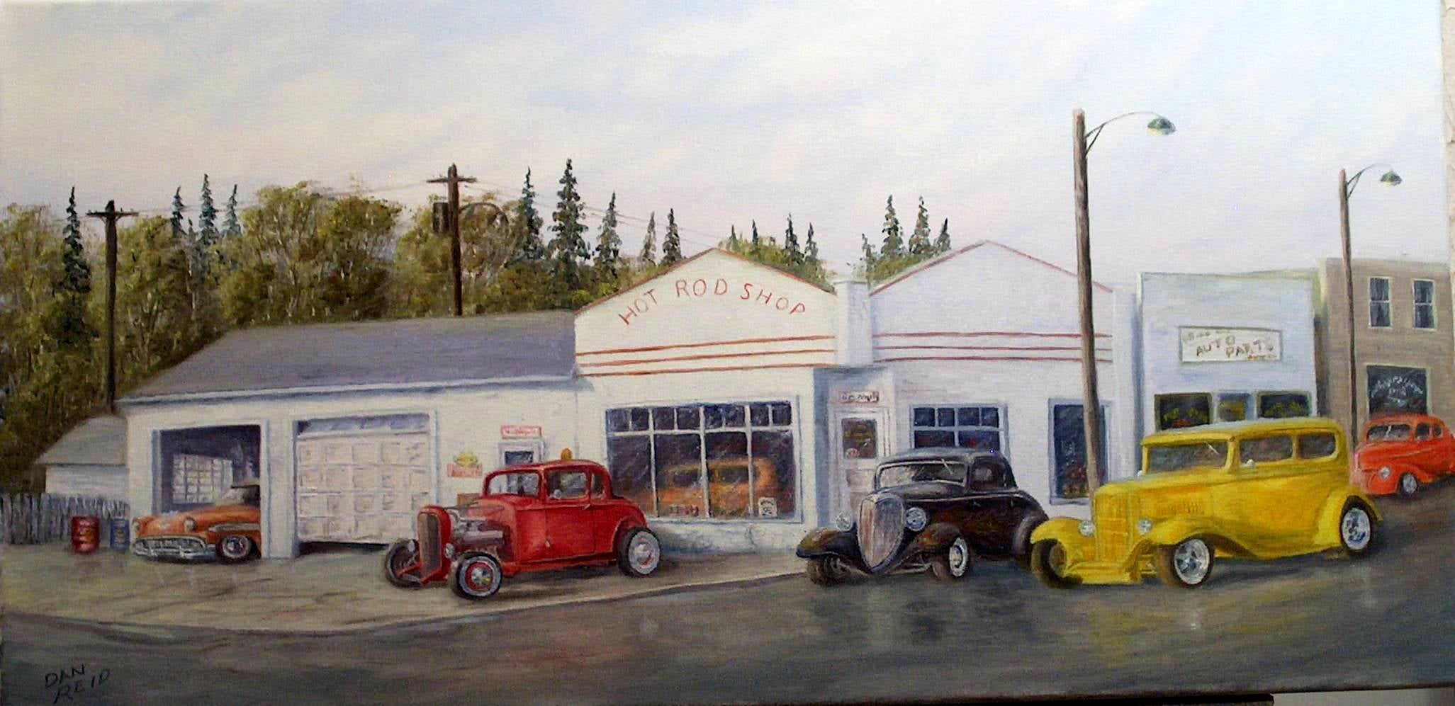 Hot Rod Heaven Stretched Canvas Artwork by Dan Reid