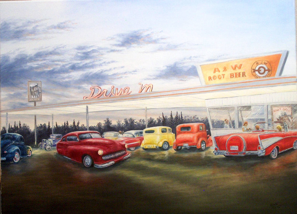 Gathering at the A&W Stretched Canvas Artwork by Dan Reid