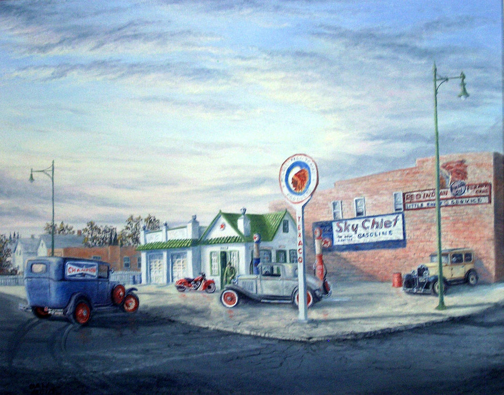 Little Chief - Texaco Station Stretched Canvas Artwork by Dan Reid