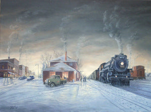 Evening Train Stretched Canvas Artwork by Dan Reid