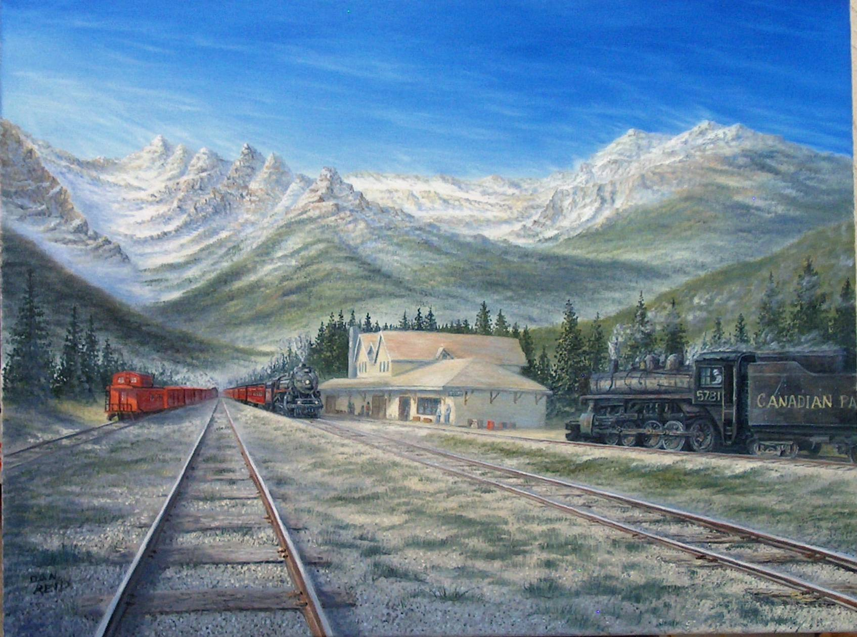 Pulling into Jasper Stretched Canvas by Dan Reid