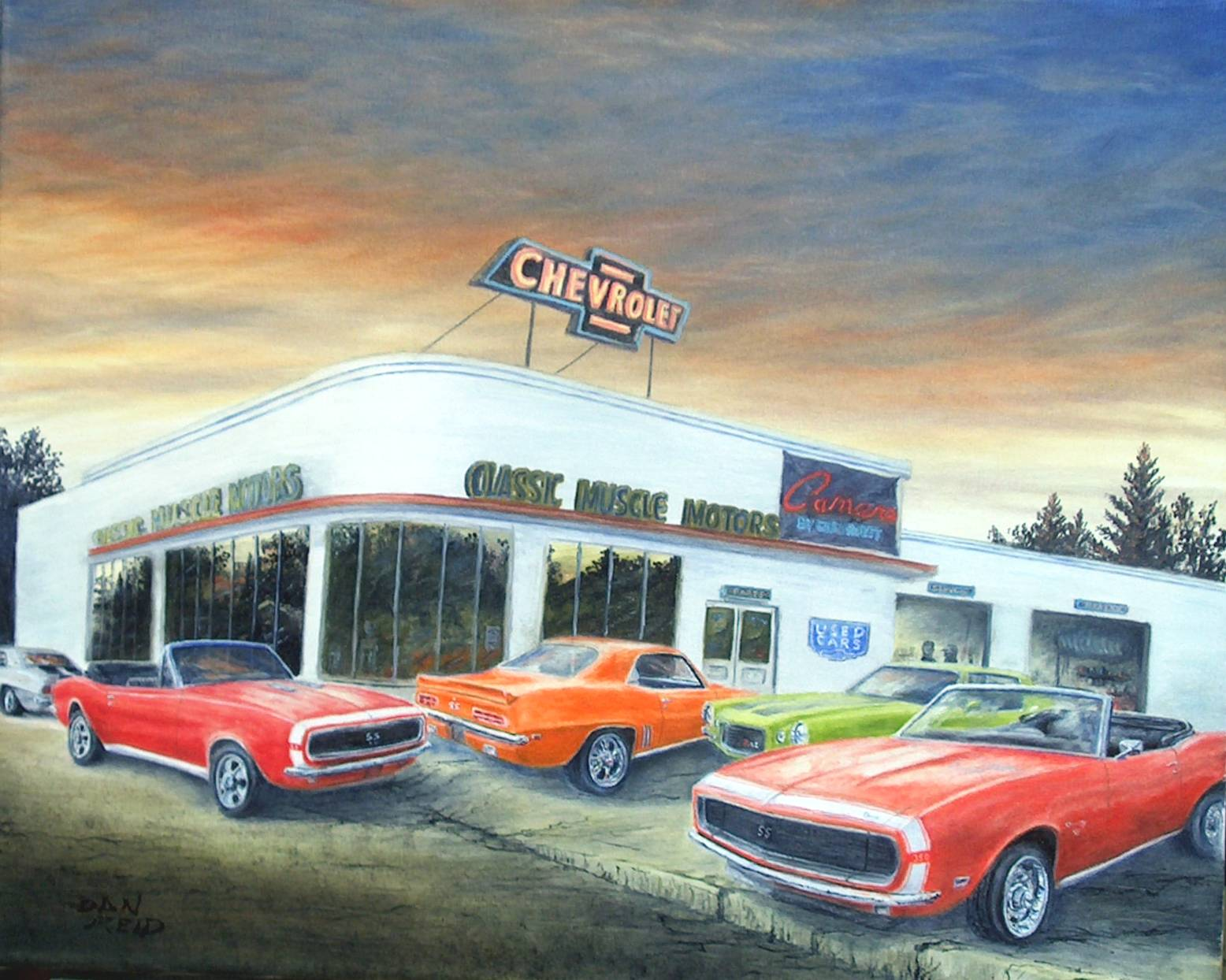 Classic Camaros Stretched Canvas Artwork