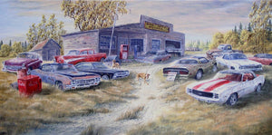 Junkyard Dogs Stretched Canvas Artwork by Dan Reid