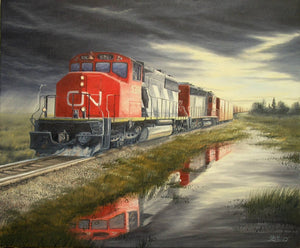 Running the Storm Stretched Canvas Artwork by Dan Reid