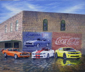 Camaros Old and New Stretched Canvas Artwork by Dan Reid