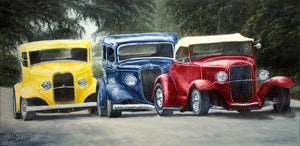 Three for the Road Stretched Canvas Artwork by Dan Reid