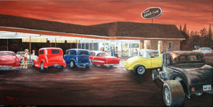 The Drive Inn Stretched Canvas Artwork by Dan Reid