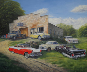 Fords of the 50s Stretched Canvas Artwork by Dan Reid