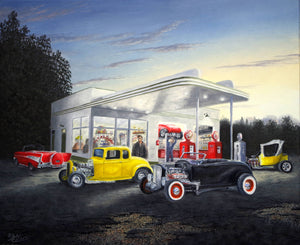 Evening Hot Rods Stretched Canvas Artwork by Dan Reid