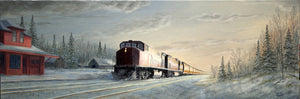 Early Morning Train Coming Through Stretched Canvas by Dan Reid