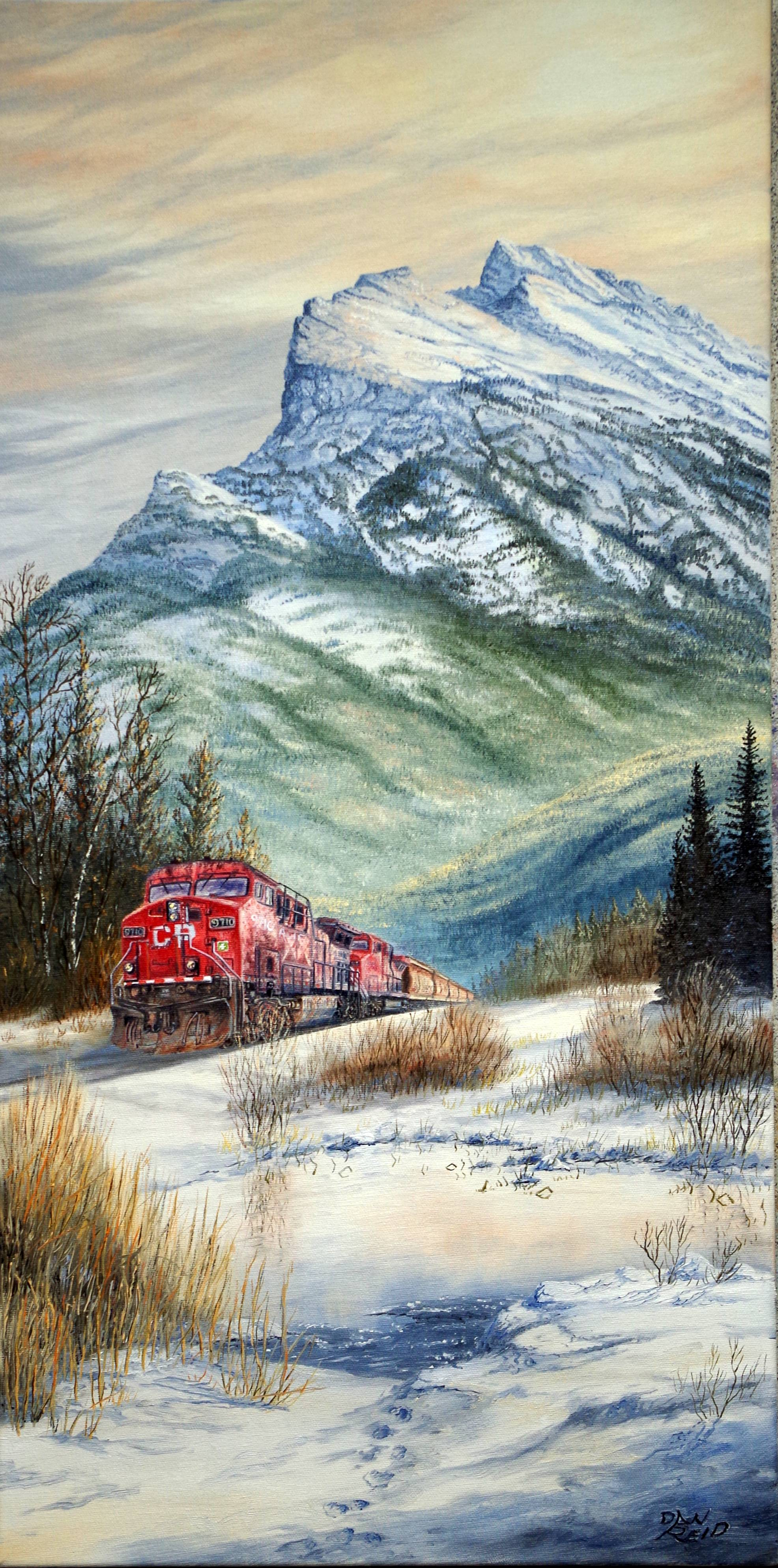 Pulling Through the Mountains Stretched Canvas Artwork by Dan Reid