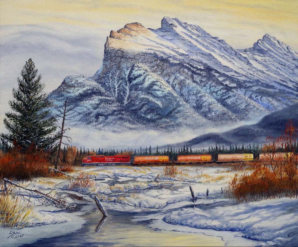 Passing Mount Rundle Stretched Canvas Artwork by Dan Reid