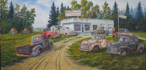 Rusty Old GMC Trucks Stretched Canvas Artwork by Dan Reid