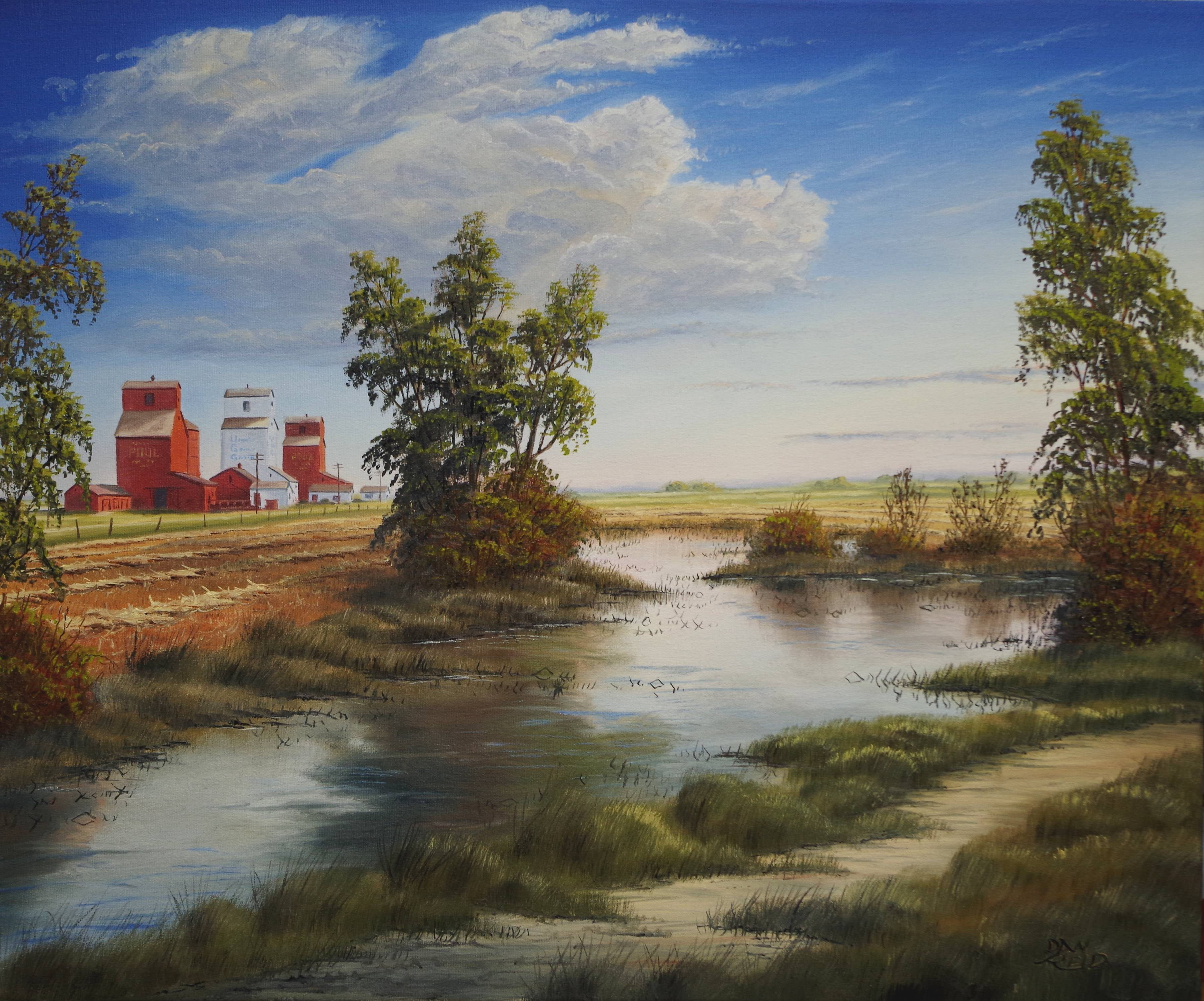 Elevators From the Pasture Stretched Canvas by Dan Reid