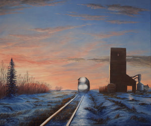 Lighting Up the Tracks Stretched Canvas Artwork by Dan Reid