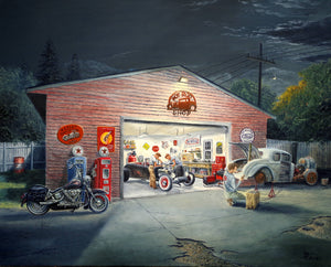 The Hot Rod Shop Stretched Canvas Artwork by Dan Reid