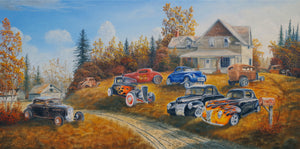 Hot Rod Retirement Home Stretched Canvas Artwork by Dan Reid