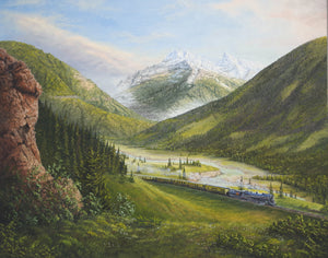 Blue River Vallery Stretched Canvas Artwork by Dan Reid