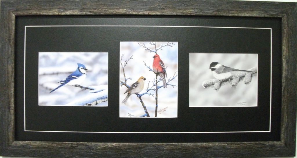 Winter Birds Horizontal Trio