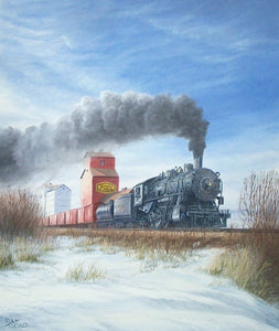 Steam and Snow Stretched Canvas Artwork by Dan Reid