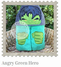 Angry Green Hero Hooded Bath Towel
