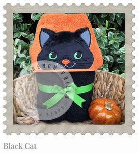 Black Cat Hooded Bath Towel