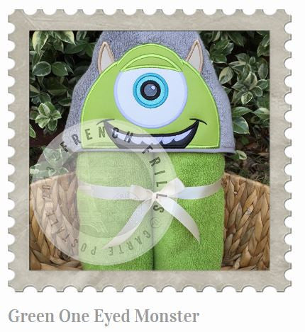 Green One Eyed Monster Hooded Bath Towel