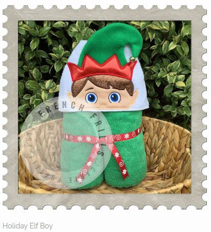 Holiday Elf Boy Hooded Bath Towel