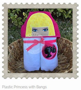 Plastic Princess with Bangs Hooded Bath Towel