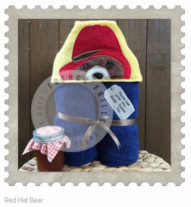 Red Hat Bear Hooded Bath Towel