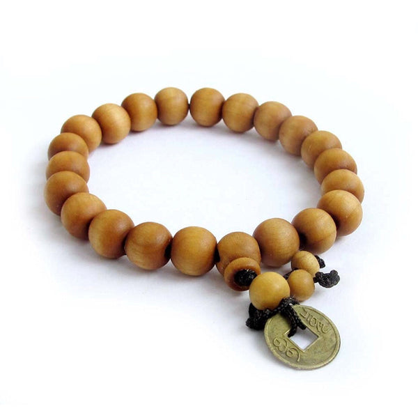 wood shamballa rip bead bracelet brown dark natural image