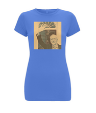 JC at no 10 (sepia) on Women's Feel Good, Longer Length, Stretch T-Shirt