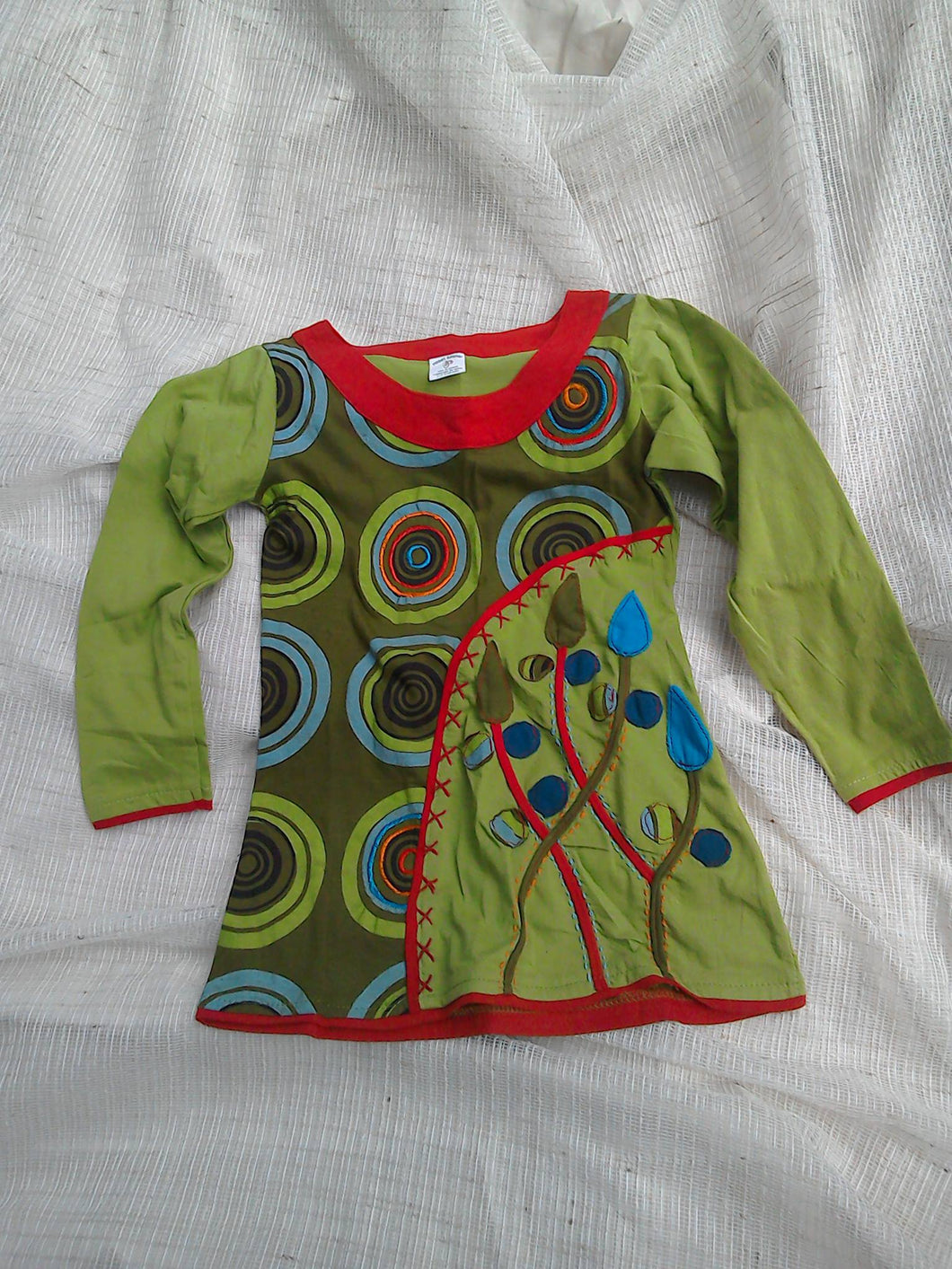Long-Sleeved Cotton Boho Circle and Plant Dress - Age 4-5