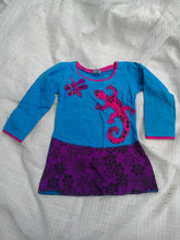 Long-Sleeved Cotton Lizard Applique Dress- Age 1.5 - 2.5 Years