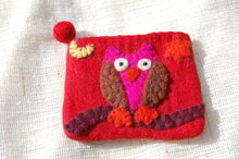 Cute felt purse with multicoloured owl and bobble zip