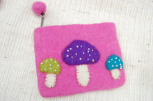 Cute lined felt purse with toadstools