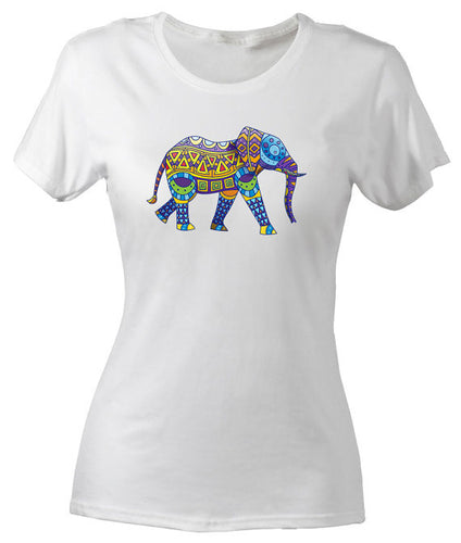 Women's Ethnic Elephant Slim Fit Cotton T-Shirt
