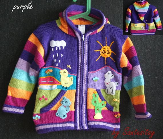 Baby kids Sweater, fairy hoodie, cardigan, Alpaca Wool Soft Warm, Knitted,embroidered funny application animals red blue purple pink