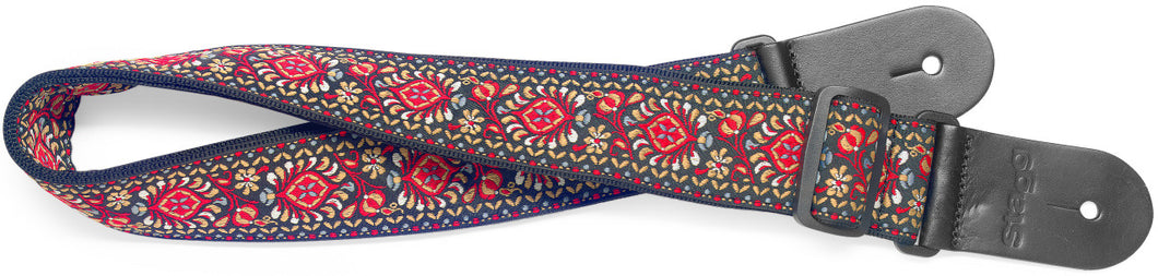 Stagg Woven Cotton Guitar Strap with Red Jimi Pattern