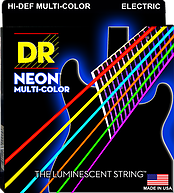 DR Hi-Def Neon multi-colored electric guitar strings, Medium, .010