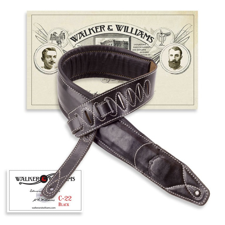 Walker & Williams C-22 Extra Wide Double Padded Premium Black Leather Strap